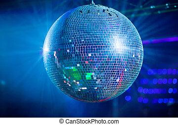 Bleu mirror ball rolling in the night club.
