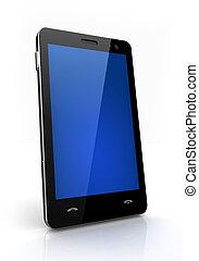 bleu, mobile, écran, isolé, téléphone