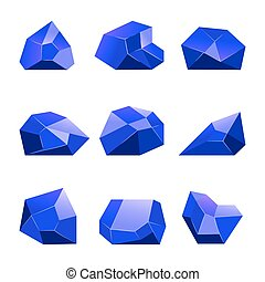 bleu, mobile, apps, vecteur, jeux, fond, cristaux, blanc