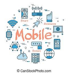 bleu, mobile, concept, rond