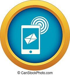 bleu, mobile, isolé, signe, vecteur, courrier, icône