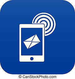 bleu, mobile, signe, numérique, courrier, icône