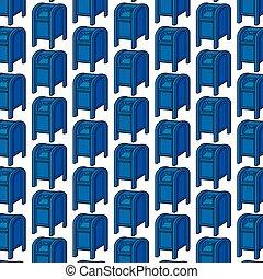 bleu, modèle, boîtes, fond, courrier
