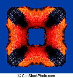 bleu, modèle, cadre, isolé, flamme, fond, orange, rouges
