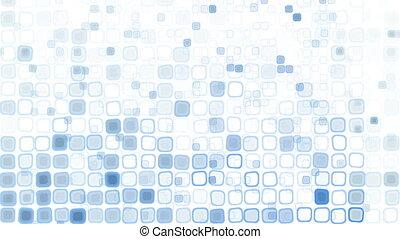 bleu, modèle, carrés, liquide, boucle