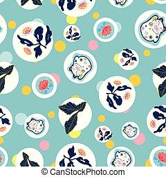 bleu, modèle, chat, floral., point, heureux