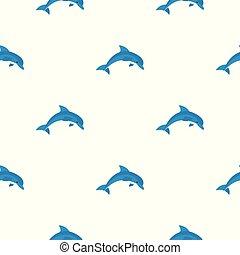 bleu, modèle, dauphin, seamless