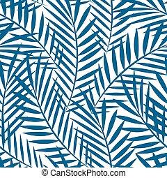 bleu, modèle, feuilles, arbre, seamless, exotique, paume