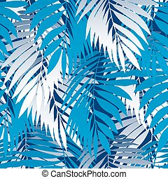 bleu, modèle, feuilles, paume, seamless