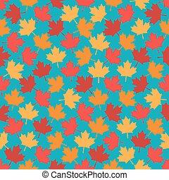 bleu, modèle, feuilles, seamless, automne, fond, érable