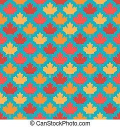 bleu, modèle, feuilles, seamless, automne, fond, symétrique, érable