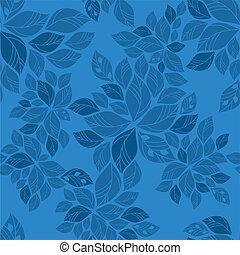 bleu, modèle, feuilles, seamless