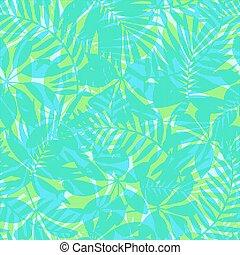 bleu, modèle, feuilles, seamless, exotique, vert, rayé