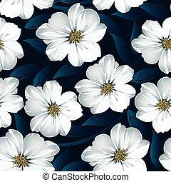 bleu, modèle, feuilles, seamless, floral, blanc