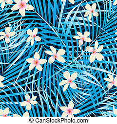 bleu, modèle, feuilles, seamless, paume, frangipanier, fleurs
