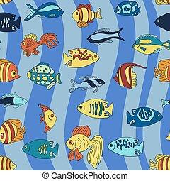 bleu, modèle, fish, aquarium, vagues
