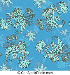bleu, modèle, fleur, seamless