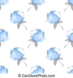 bleu, modèle, fleurs, seamless, printemps