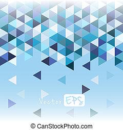 bleu, modèle, géométrique, triangle, mosaïque