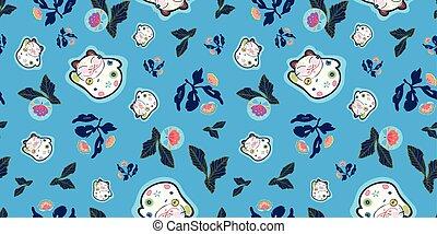 bleu, modèle, heureux, florals., chat