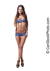 bleu, modèle, lingerie, heureux, poser, chevelu