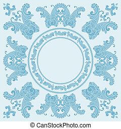 bleu, modèle, paisley, carrée, vecteur