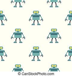 bleu, modèle, robot, seamless