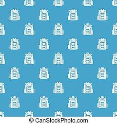 bleu, modèle, sac à dos, seamless, vecteur, étudiant