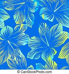 bleu, modèle, seamless, aquarelle, effet, fleurs tropicales