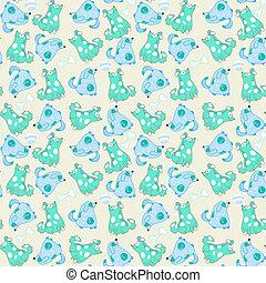 bleu, modèle, seamless, chiens, dessin animé, gosse