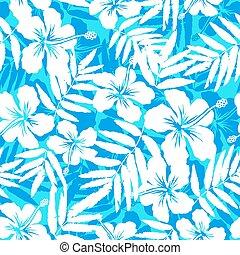 bleu, modèle, seamless, exotique, silhouettes, fleurs blanches