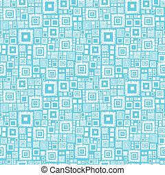 bleu, modèle, seamless, fond, blanc, carrés, géométrique