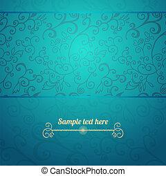 bleu, modèle, seamless, fond, excellent, floral