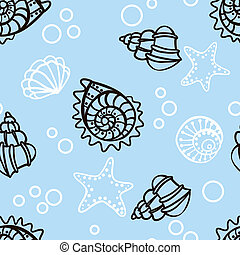 bleu, modèle, seamless, fond, seashells