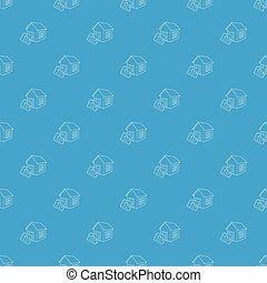 bleu, modèle, seamless, vecteur, maison, intelligent