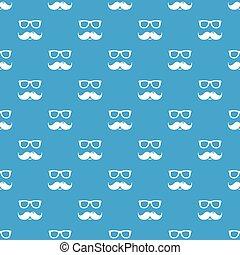 bleu, modèle, seamless, vecteur, moustaches, nerd, lunettes