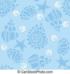 bleu, modèle, seashells, seamless, arrière-plan.