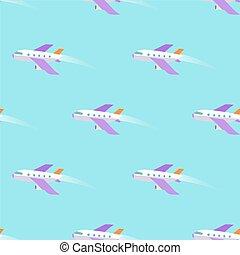 bleu, modèle, voler, ciel, seamless, avion