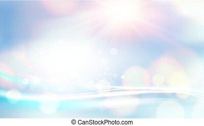 bleu, mode, naturel, toile fond., espace, lumière, résumé, arrière-plan., bokeh, bulles, blanc, template., futuriste, briller