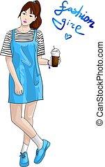 bleu, mode, tasse, main, vecteur, espadrilles, dessiné, girl, robe