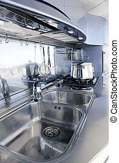 bleu, moderne, décoration, conception, architecture, intérieur, argent, cuisine
