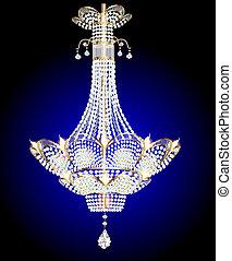 bleu, moderne, lustre, pendentifs, cristal