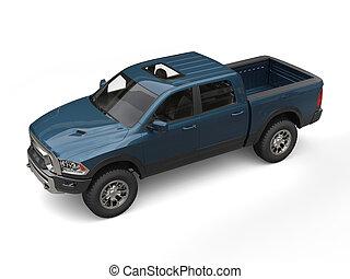 bleu, moderne, pick-up, sombre, camion, vert