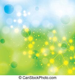 bleu, molécule, arrière-plan vert
