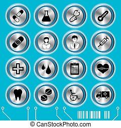 bleu, monde médical, ensemble, icônes