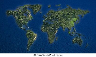 bleu, mondiale, îles, océan