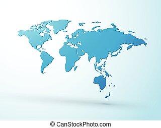 bleu, mondiale, 3d, carte