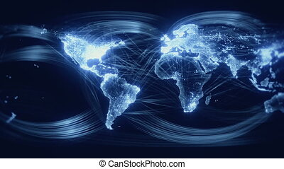 bleu, mondiale, géré réseau, seamless, boucle