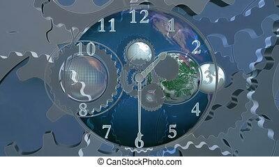 bleu, mondiale, horloge, cg, faire boucle, engrenages, fond, temps, la terre, animé