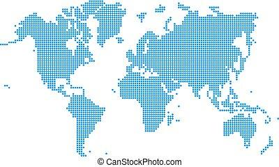 bleu, mondiale, style, pointillé, carte